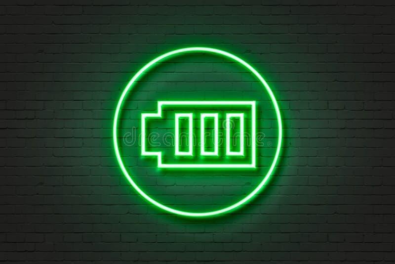De batterij van het neonlichtpictogram stock fotografie