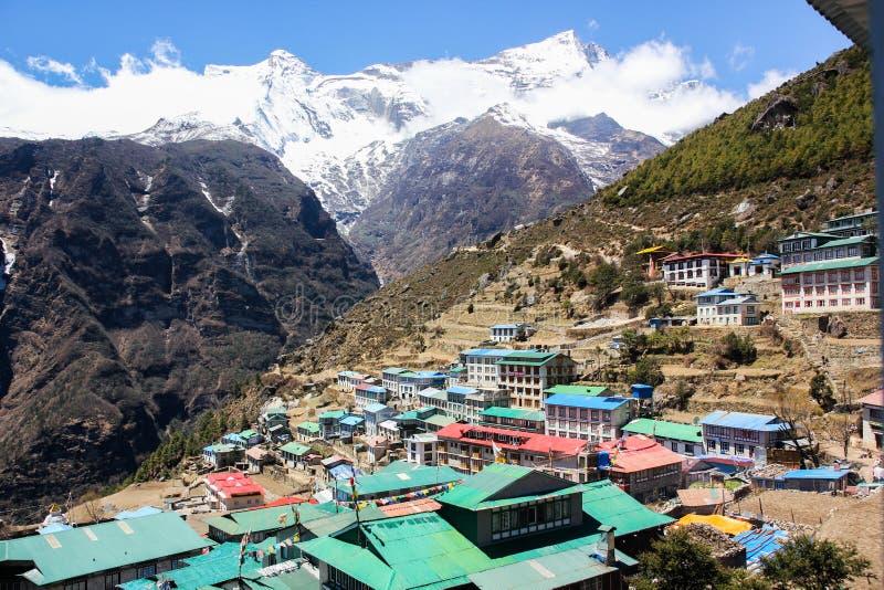 De Bazaar van Namche Himalayagebergte, Nepal stock foto's