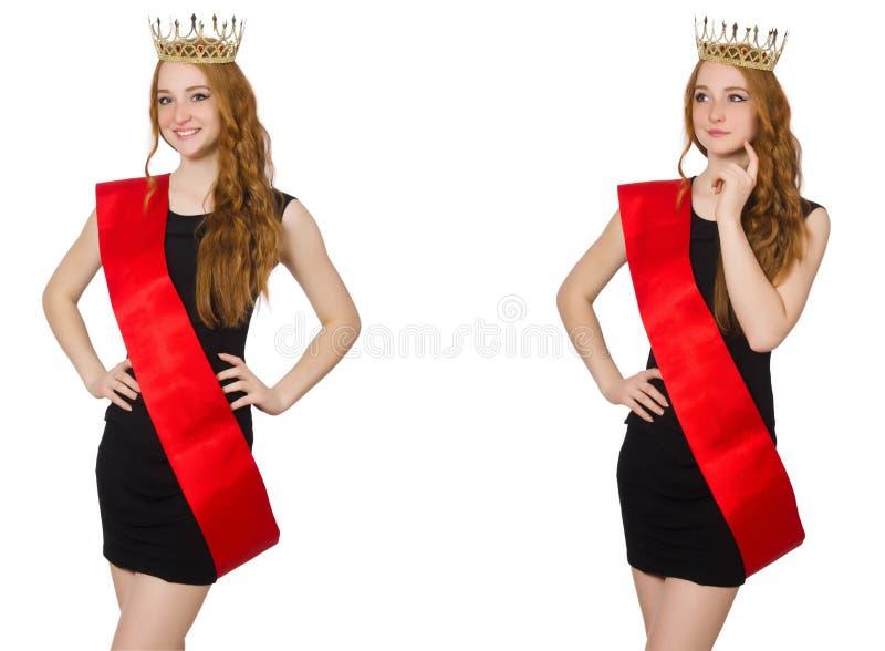 De beaty koningin bij wedstrijd in zwarte kleding stock foto's