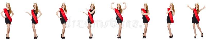 De beaty koningin bij wedstrijd in zwarte kleding stock afbeeldingen