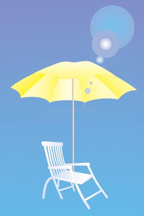 De bedden en de paraplu's van de zon.