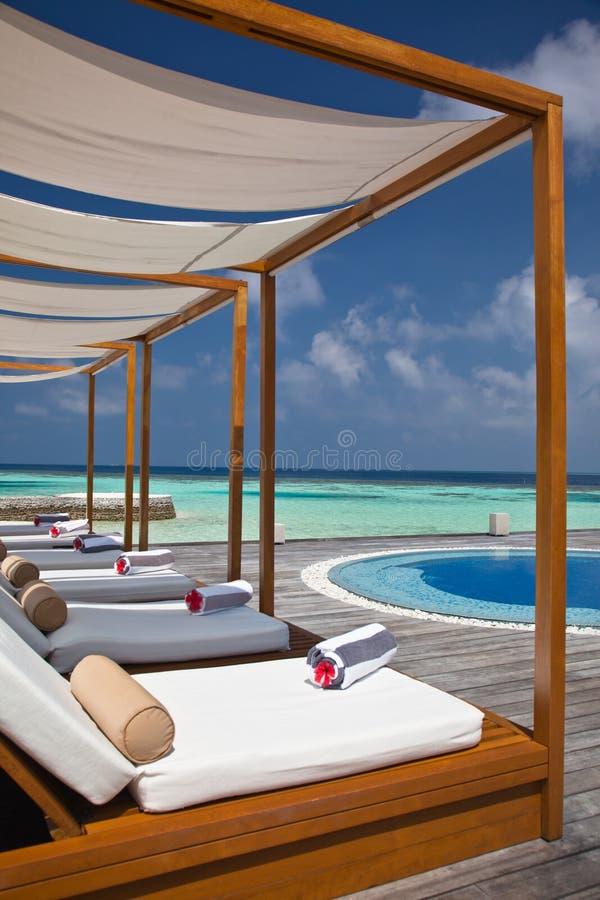 De Bedden van de zon in de Maldiven royalty-vrije stock afbeelding