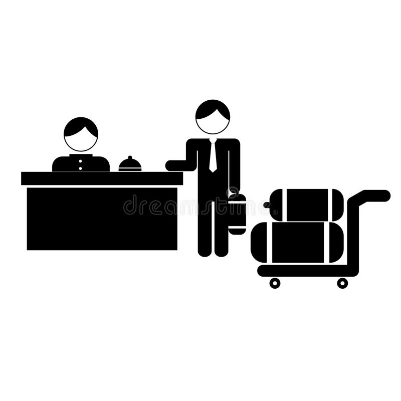 de bediende van het hotelbureau en gues met het beeld van het bagagepictogram vector illustratie