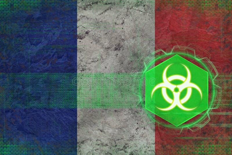 De bedreiging van Frankrijk biohazard Biologisch gevaarsconcept stock illustratie