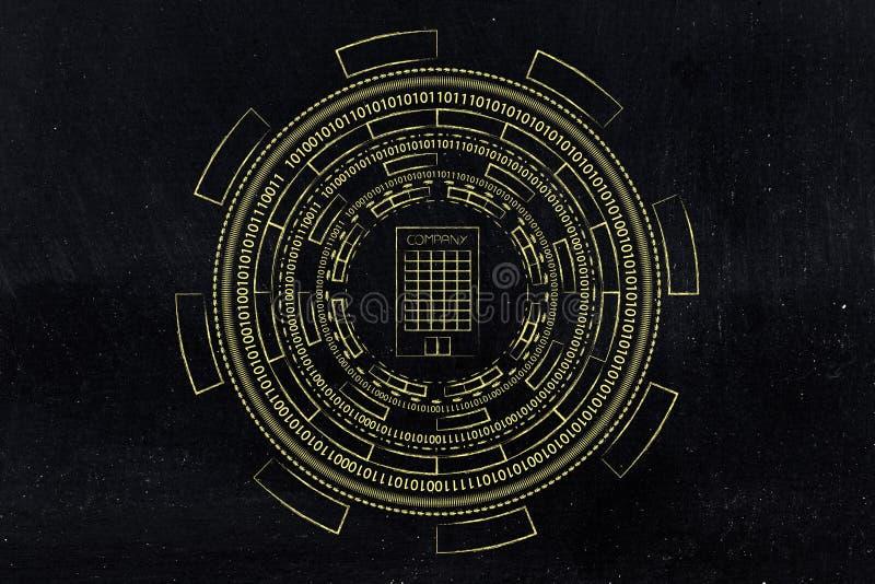De bedrijfbouw door abstracte technologie diecyberspace me wordt omringd stock illustratie