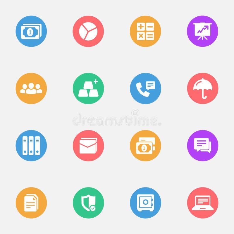 De bedrijfs en bankwezen vlakke witte pictogrammen plaatsen 16 stock illustratie