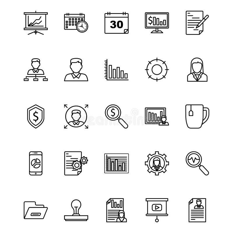 De bedrijfs en Financiënlijn isoleerde Vector Geplaatste Pictogrammen die gemakkelijk kunnen worden gewijzigd of worden uitgegeve royalty-vrije illustratie