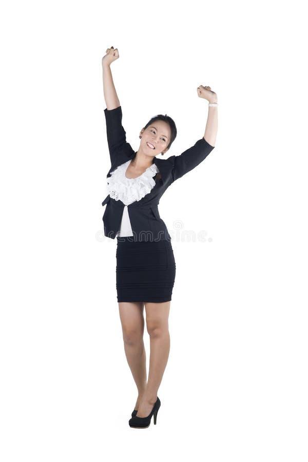 De bedrijfs geïsoleerdee vrouw van het succes/winnaar stock afbeelding