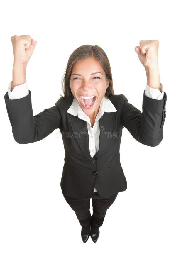 De bedrijfs geïsoleerdet vrouw van het succes/winnaar stock foto