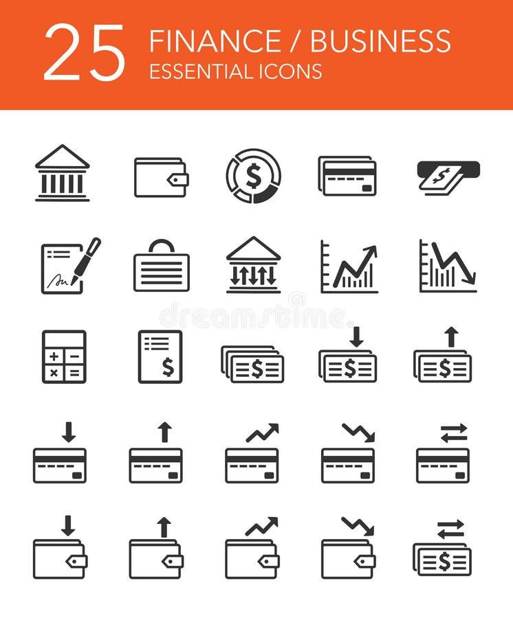 De bedrijfs geplaatste pictogrammen van financiën en stock foto