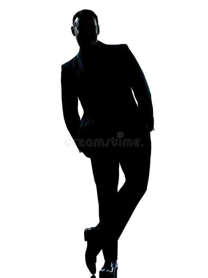 De bedrijfs mens die Volledige lengte bevindt zich dient zak in royalty-vrije stock foto