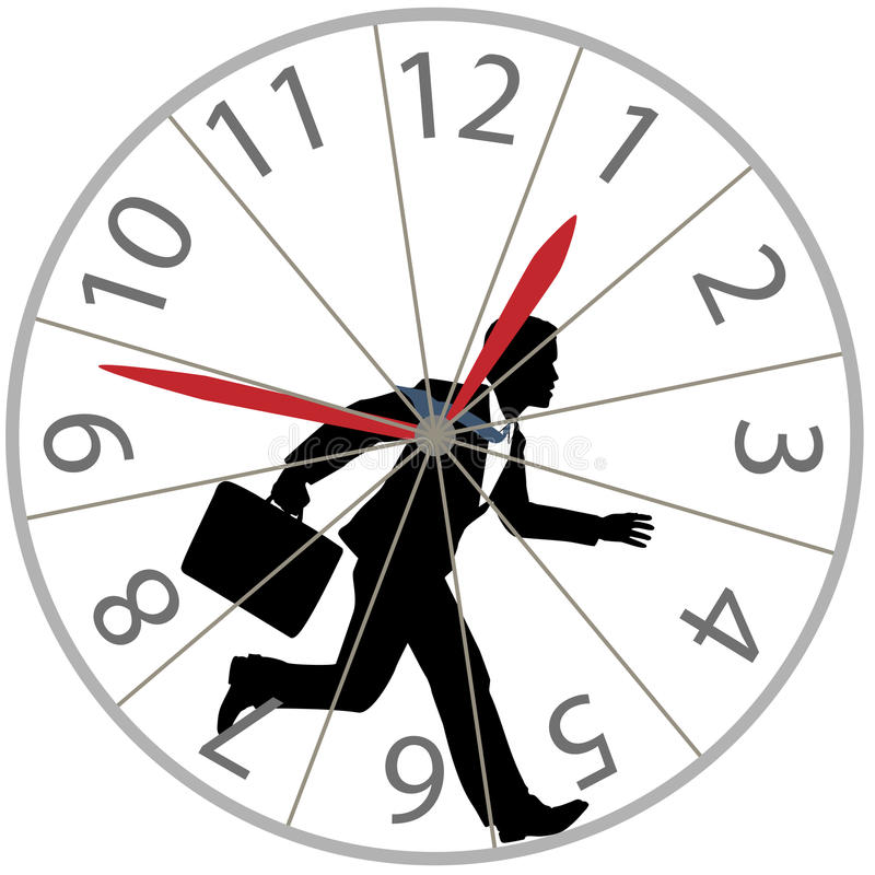 De bedrijfs mens stelt rattenrace in de klok van het hamsterwiel in werking stock illustratie