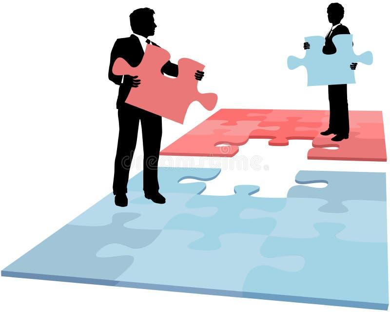 De bedrijfs mensen brengen oplossingssamenwerking in verwarring royalty-vrije illustratie