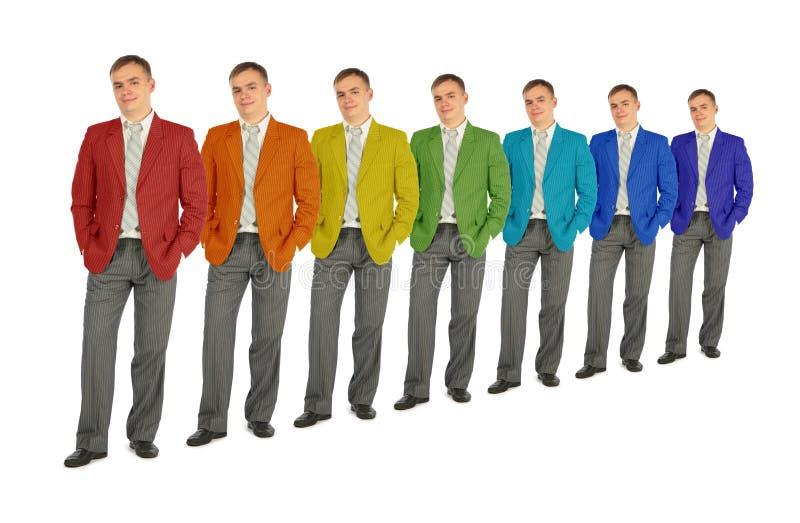 De bedrijfs mensen met regenboog kleuren laagcollage royalty-vrije stock fotografie