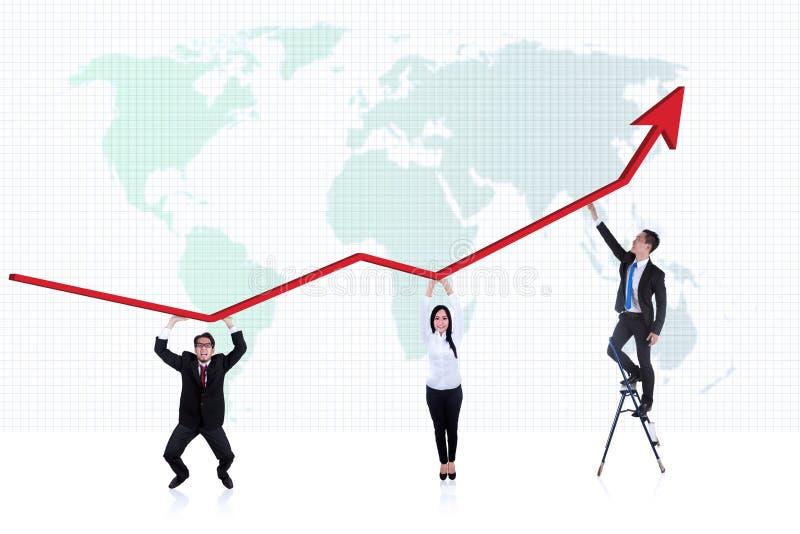 De bedrijfs mensen profiteren grafiek vector illustratie