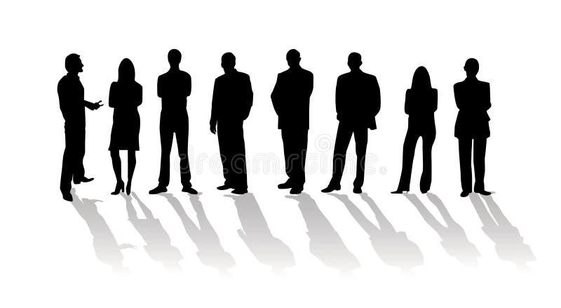 De bedrijfs mensen silhouetteren vector illustratie