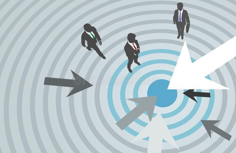 De bedrijfs mensenpijlen richten op de markt brengend centrum royalty-vrije illustratie