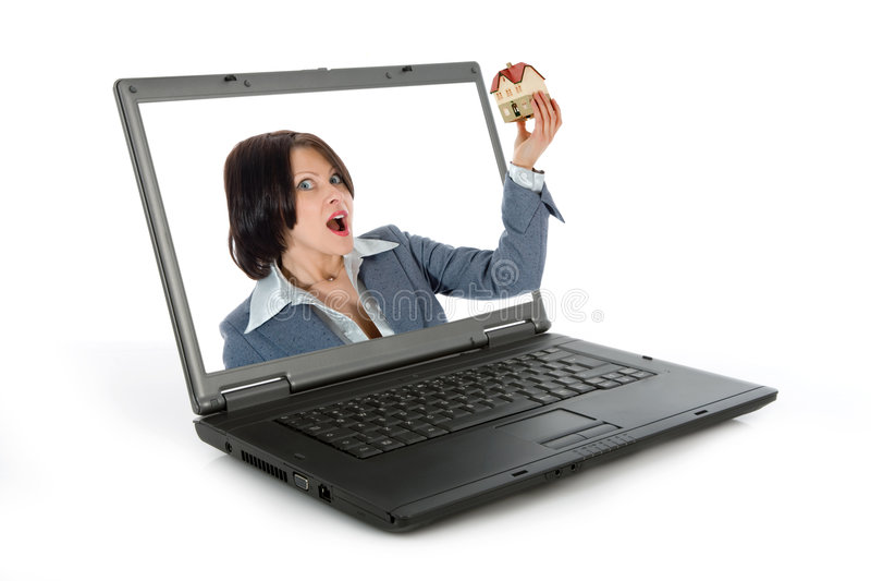De bedrijfs vrouw adverteert onroerende goederen stock afbeeldingen