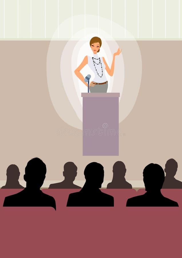 De bedrijfs vrouw geeft toespraak op stadium op conferentie stock illustratie