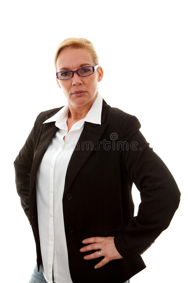 De bedrijfs vrouw is taai royalty-vrije stock foto