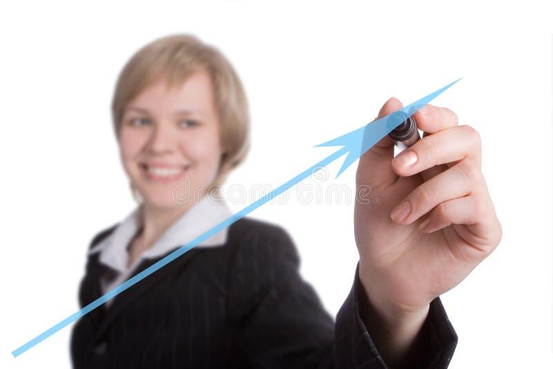 De bedrijfs vrouw trekt grafiek stock foto