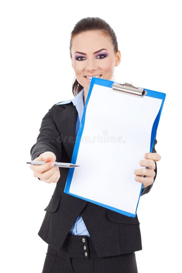 De bedrijfs vrouw vraagt om handtekening stock foto's