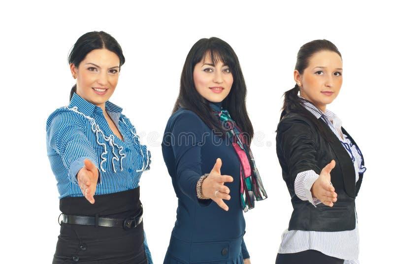 De bedrijfs vrouwen geeft handen stock afbeelding