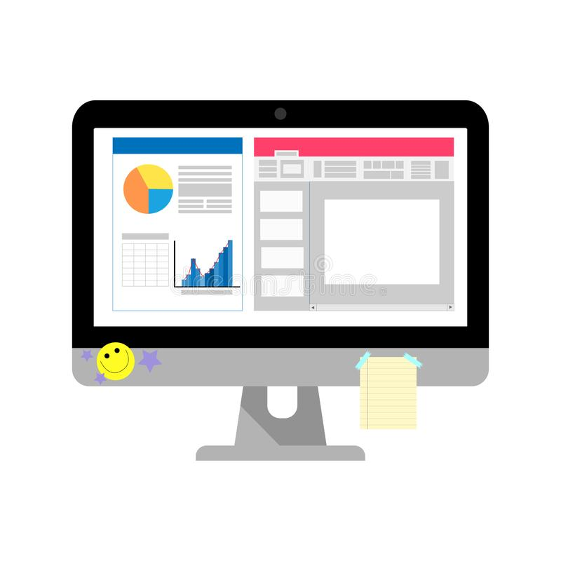 De bedrijfscomputer met het schermnieuws en de grafiek hebben blocnote en sticker op het scherm royalty-vrije illustratie