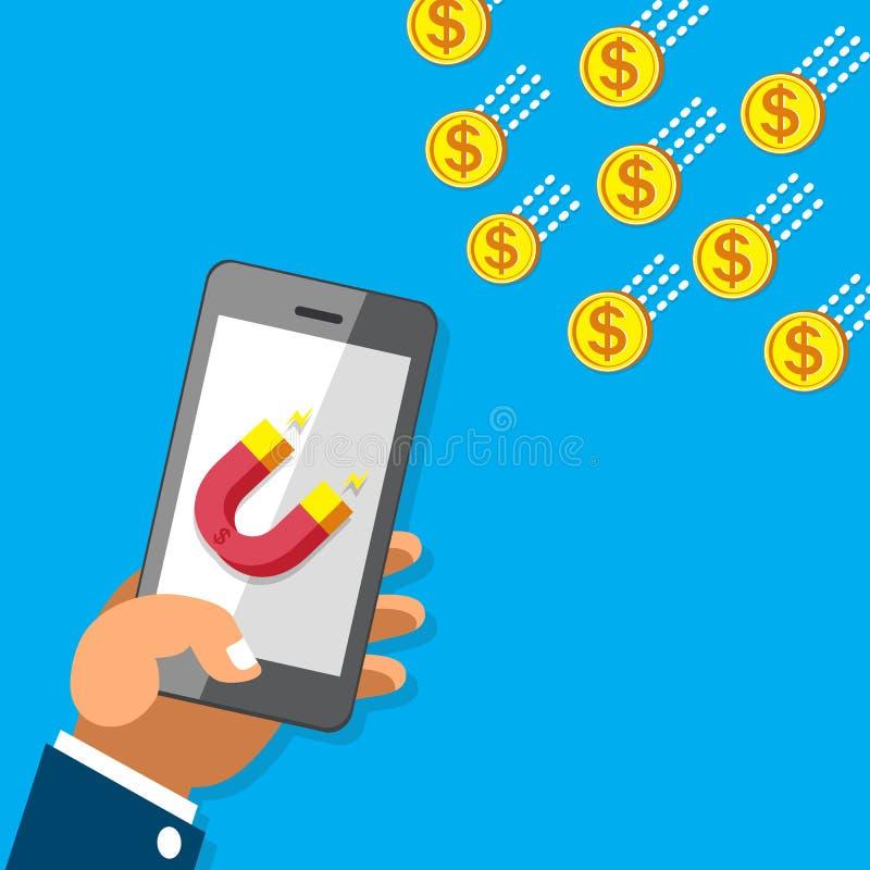 De bedrijfsconceptenhand die smartphone met magneetpictogram gebruiken trekt geldmuntstukken aan royalty-vrije illustratie