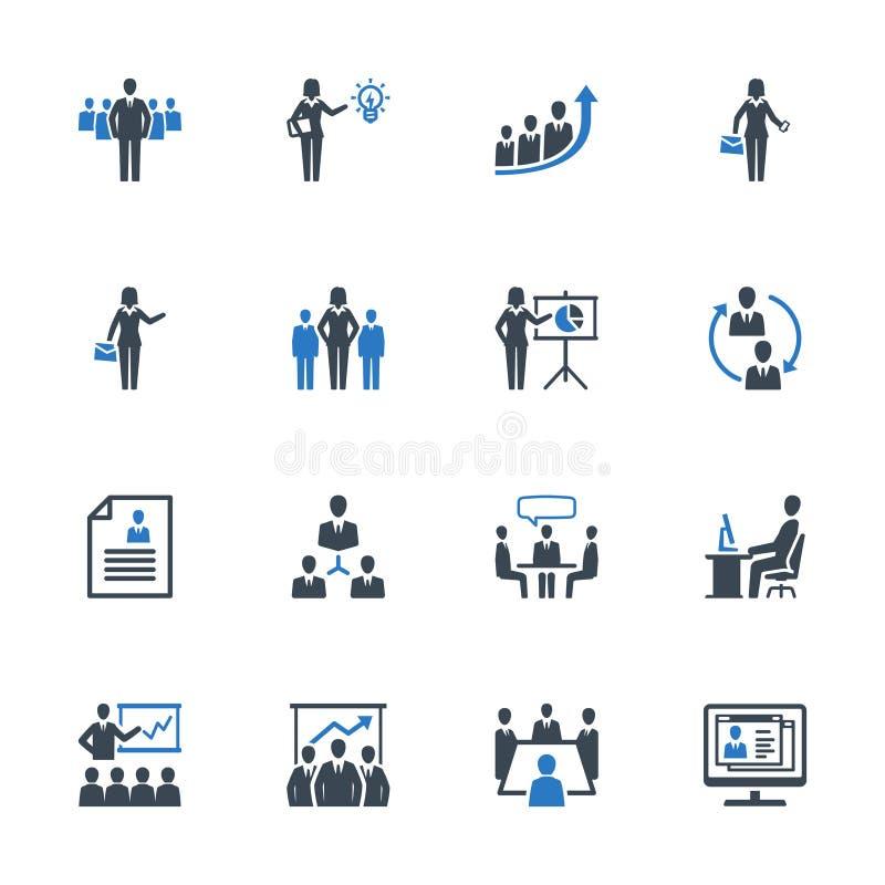 De bedrijfseconomiepictogrammen plaatsen 1 - Blauwe Reeks stock illustratie