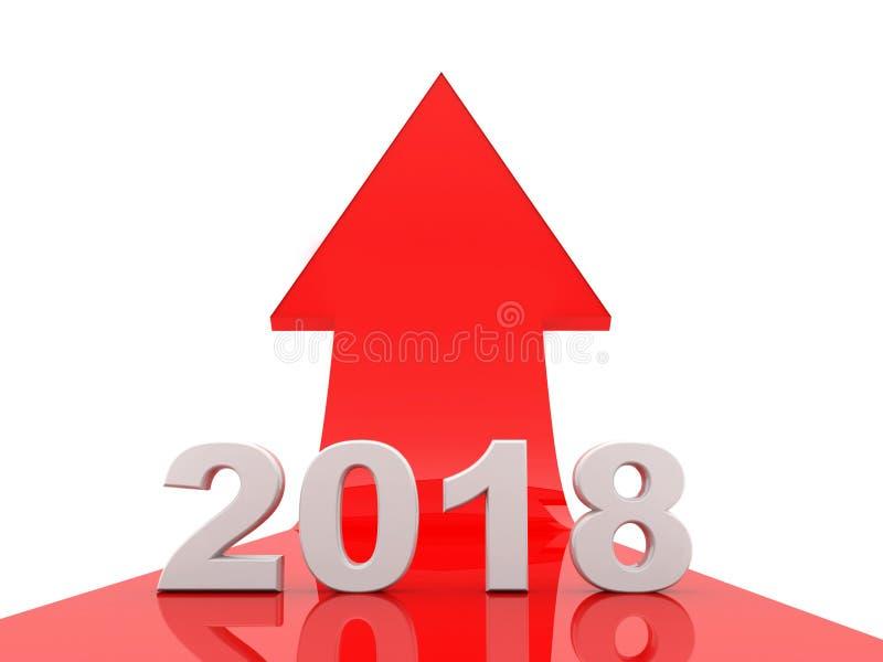 De bedrijfsgrafiek met pijl omhoog en het symbool van 2018, vertegenwoordigt de groei in het nieuwe jaar 2018 3D Illustratie stock illustratie