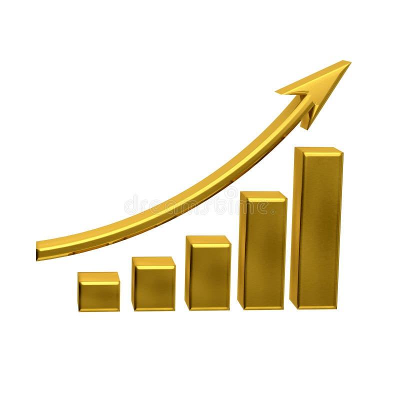 De bedrijfsgroei - Gouden Barsembleem royalty-vrije illustratie