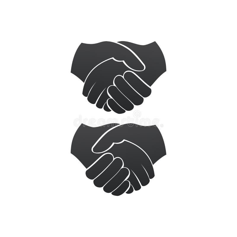 De bedrijfshanddruk verliet en de juiste overeenkomst van het versiecontract vlak pictogram voor apps en websites Vector Geïsolee vector illustratie