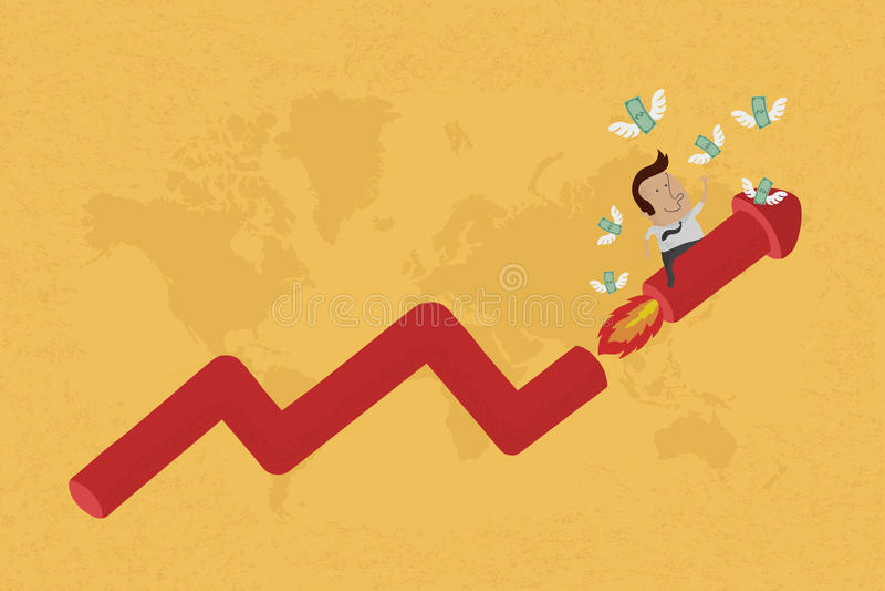 De bedrijfsmens bij het kweken van grafiek verzamelt geld vector illustratie