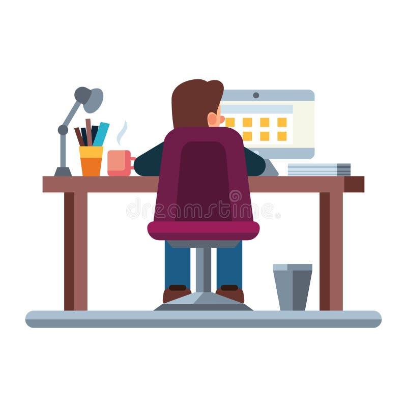 De bedrijfsmens bij zijn bureau werkt aan de laptop computer royalty-vrije illustratie