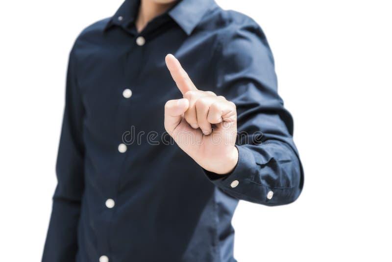 De bedrijfsmens in blauw overhemd richt iets met vinger isoleert stock foto's