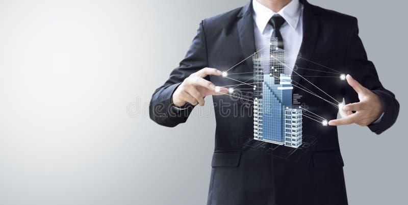 De bedrijfsmens creeert ontwerp de moderne wolkenkrabbers in 3d teruggeven stock illustratie