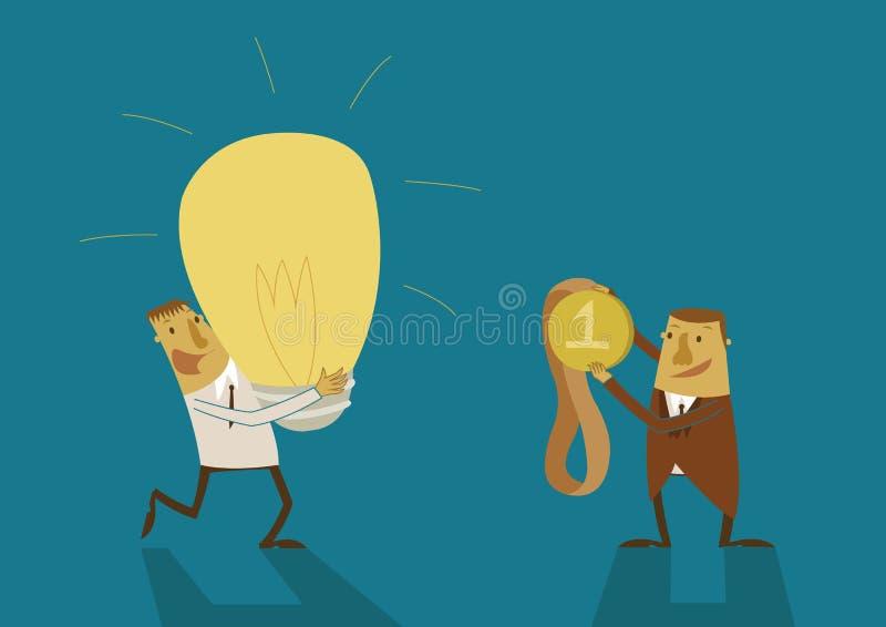 De bedrijfsmens heeft een groot idee voor beloning stock illustratie