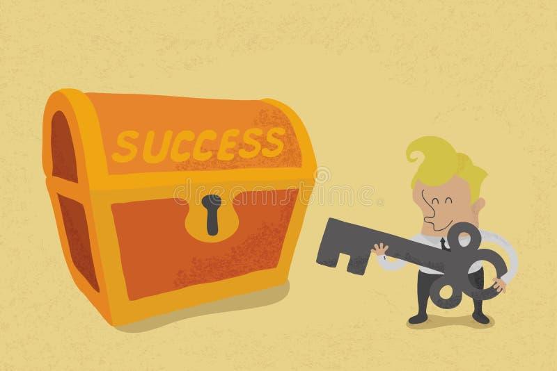 De bedrijfsmens heeft sleutel aan succes vector illustratie