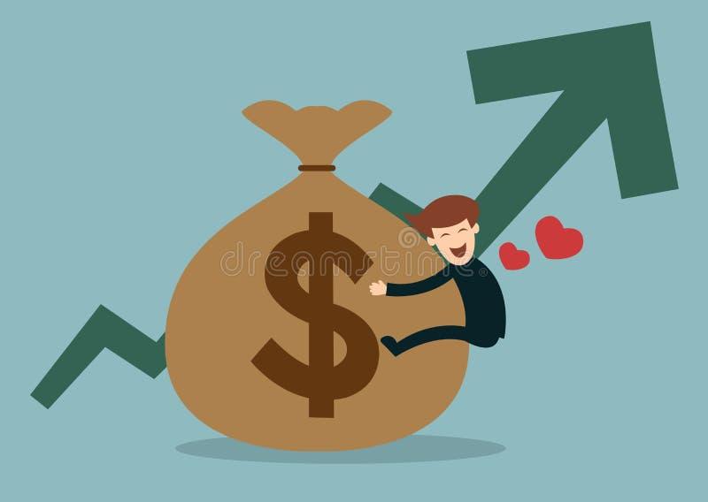 De bedrijfsmens houdt een geldzak met de omhoog grafiek stock illustratie