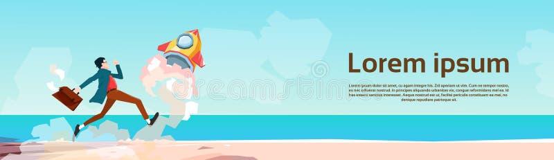 De bedrijfsmens stelt Ruimte Tropische de Kustachtergrond in werking van Rocket New Idea Startup Concept stock illustratie