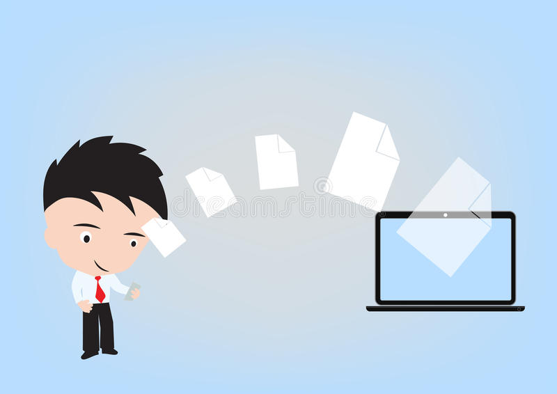 De bedrijfsmens verzendt document, dossier die via wolk het concept van de gegevensverwerkingstechnologie met mobiele telefoon de stock illustratie