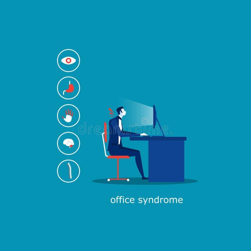 De bedrijfsmens zit op het Syndroom infographic Hypertensie van het stoelbureau, Glaucoom, Trekkervinger, Migraine, Lage rugpijn, vector illustratie