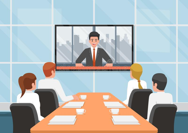 De bedrijfsmensen bij de videoconferentie roepen met het team stock illustratie