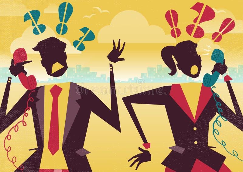 De bedrijfsmensen debatteren over de Telefoon vector illustratie