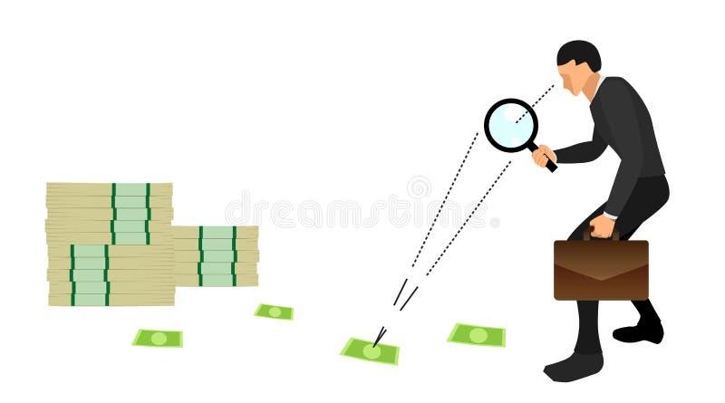 De bedrijfsmensen die zakken en lijnen dragen letten verspreid op geld onder welke einden omhoog in stapels van dollars EPS10 vec vector illustratie