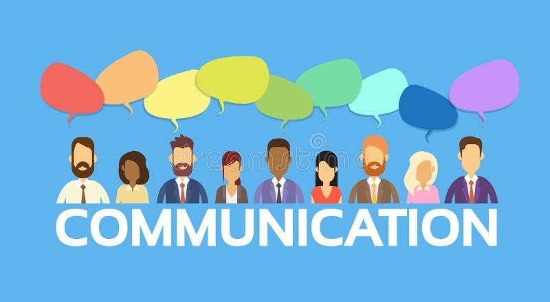 De bedrijfsmensen groeperen Communicatie van de Praatjebel Sociaal Netwerk stock illustratie
