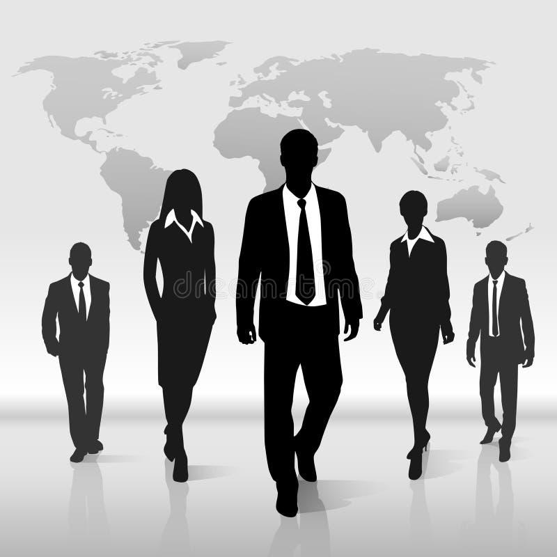 De bedrijfsmensen groeperen gangsilhouet over wereld vector illustratie