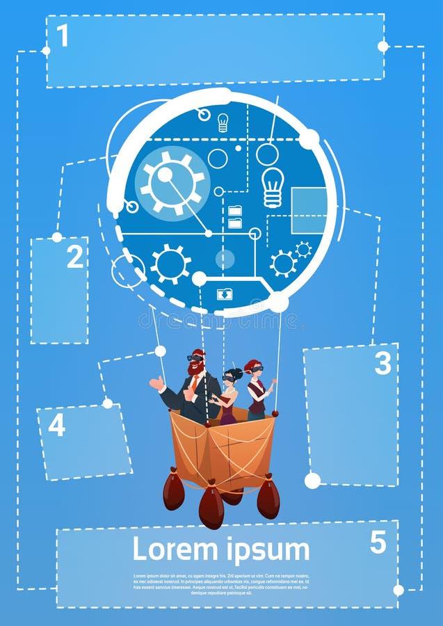 De bedrijfsmensen groeperen het Vliegen op het Succes van de Start luchtballon Concept royalty-vrije illustratie