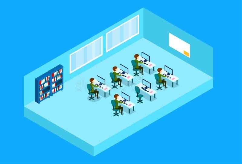 De bedrijfsmensen groeperen het Werken op Computerkantoor royalty-vrije illustratie